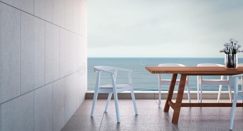 Beach dining room - Sea view / 3d render stock images