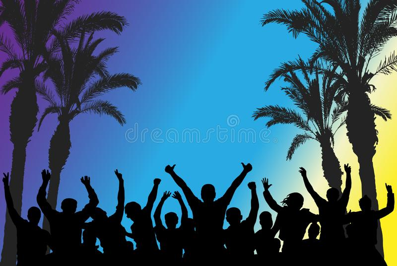 Beach disco party, silhouettes of dancing people and palm trees. Vector illustration vector illustration