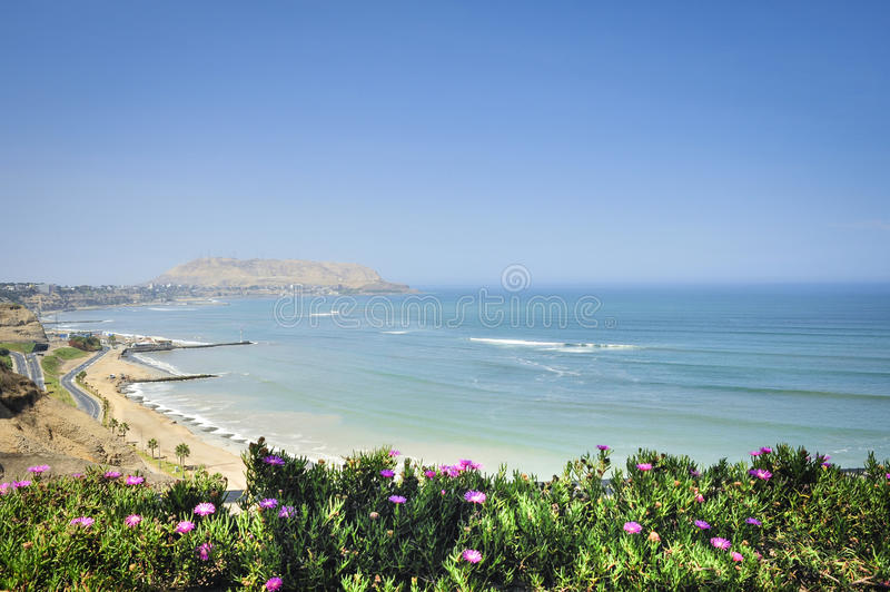 Beach in the district of Miraflores in Lima, Peru. Beautiful beach in the district of Miraflores in Lima, Peru royalty free stock images