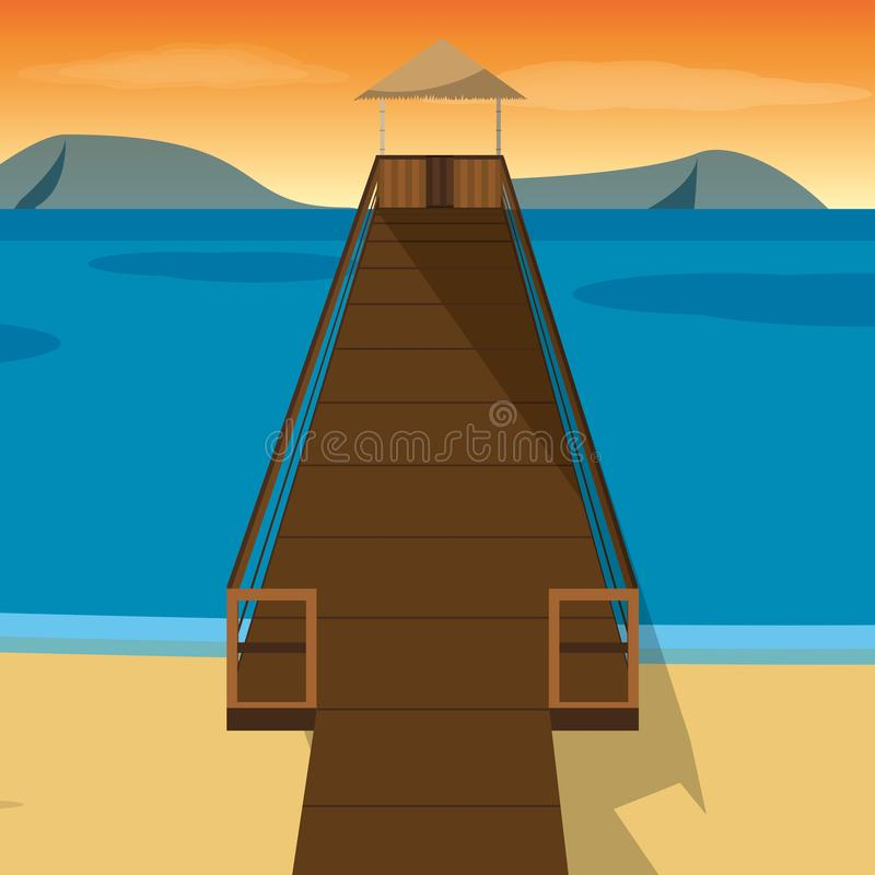 Beach with dock design. Beach with dock of summer vacation and tropical theme Vector illustration vector illustration