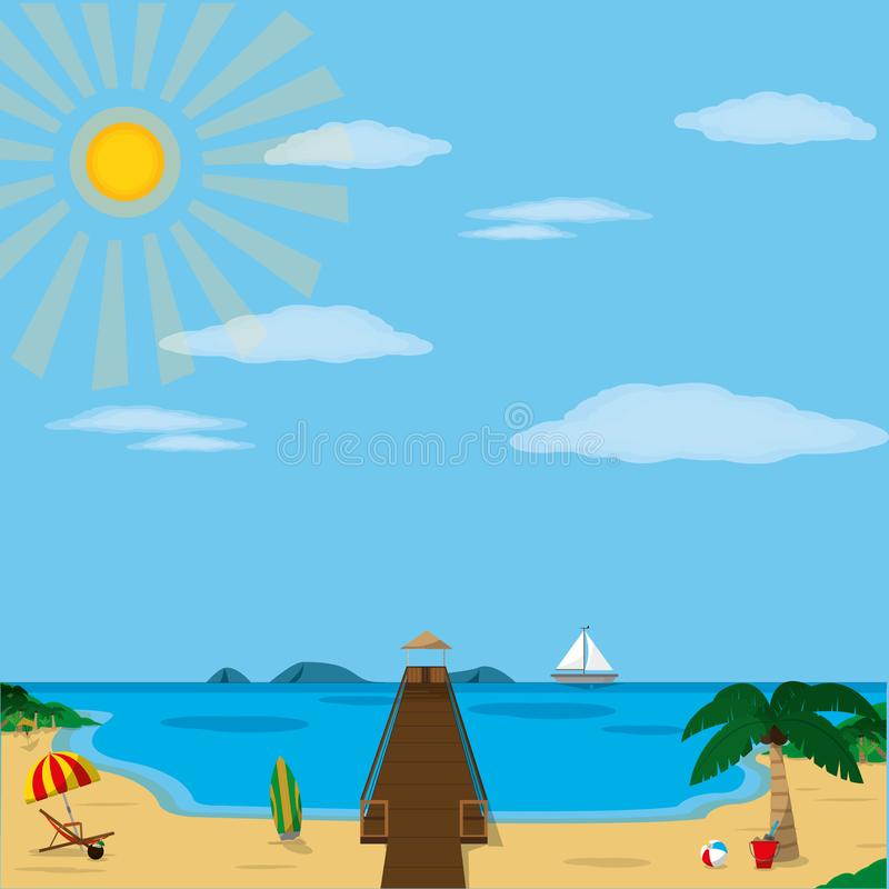 Beach with dock design. Beach with dock of summer vacation and tropical theme Vector illustration stock illustration