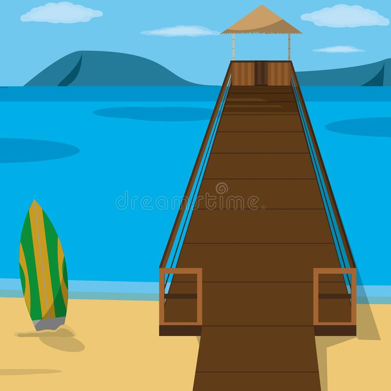 Beach with dock design. Beach with dock of summer vacation and tropical theme Vector illustration royalty free illustration