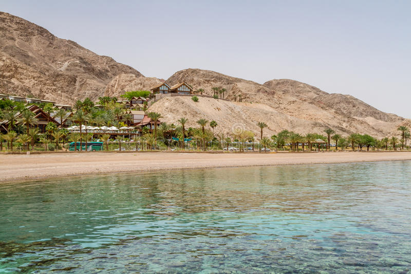 Beach of Eilat city, Red Sea, Israel. Beach of Eilat city, gulf of Aqaba in the Red Sea, Israel royalty free stock photography