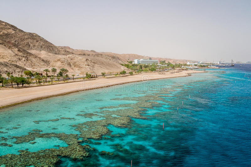 Beach of Eilat city, Red Sea, Israel. Beach of Eilat city, gulf of Aqaba in the Red Sea, Israel stock image