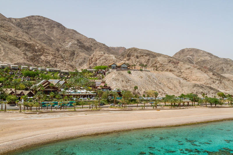 Beach of Eilat city, Red Sea, Israel royalty free stock photos
