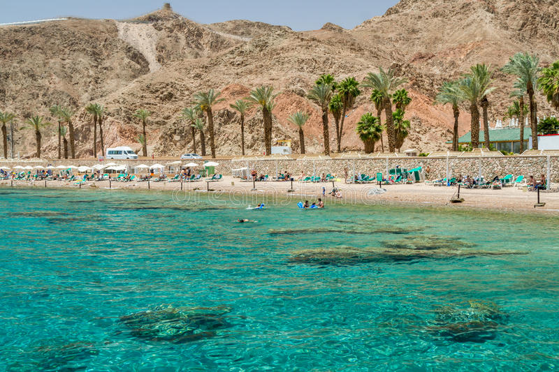Beach of Eilat city, Red Sea, Israel. EILAT, ISRAEL - MAY 2: Beach in gulf of Aqaba in the Red Sea in Eilat, Israel on May 2, 2014 stock photos