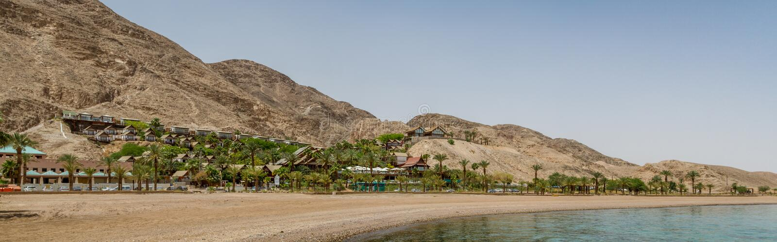 Beach of Eilat city, Red Sea, Israel royalty free stock photo