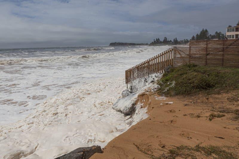 Beach erosion on Sydneys Northern Beaches 2020 stock photo