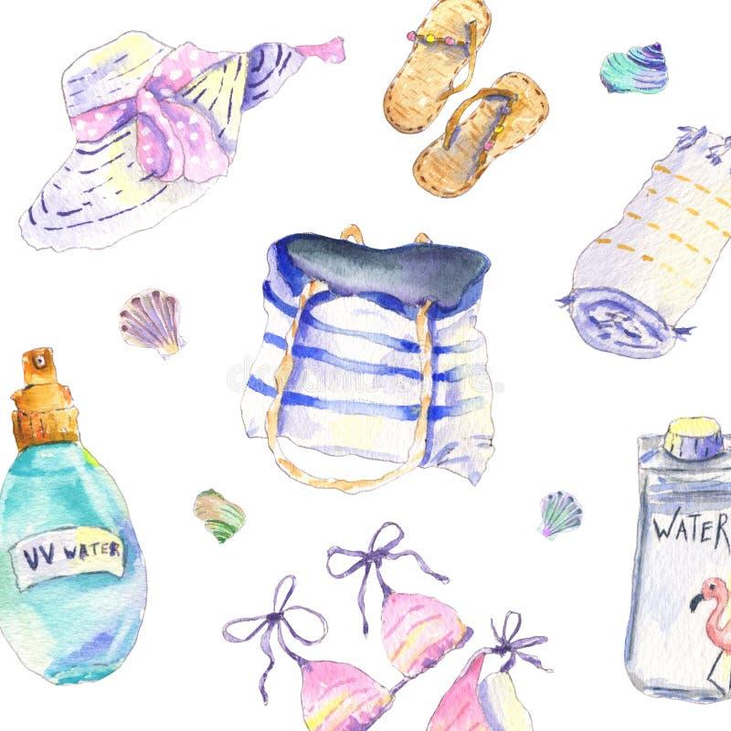 Beach essentials watercolor royalty free stock photos