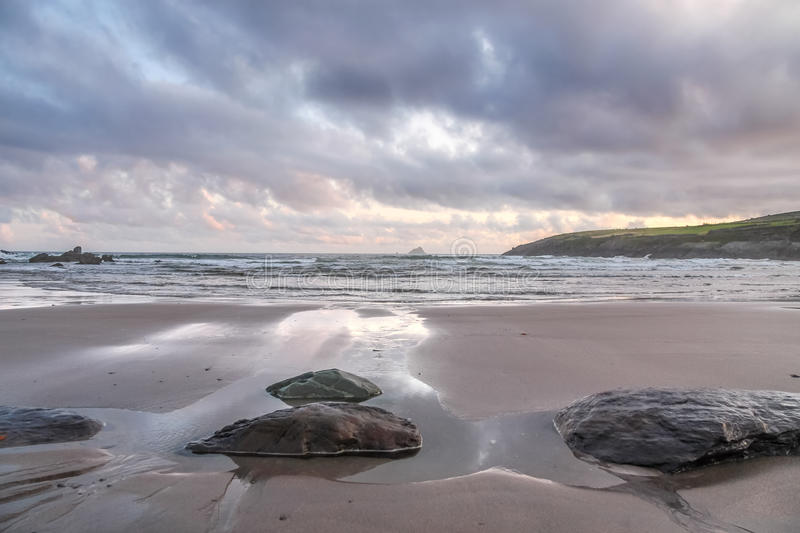 Beach in evening light. At St. Finans Bay, County Kerry, Ireland royalty free stock image