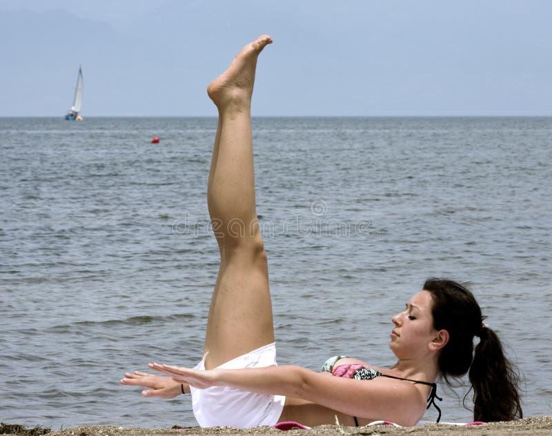 Beach exercise stock image