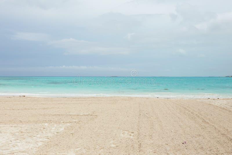 Beach in Exuma in Bahamas. A beach on an island in Exuma, Bahamas royalty free stock photo