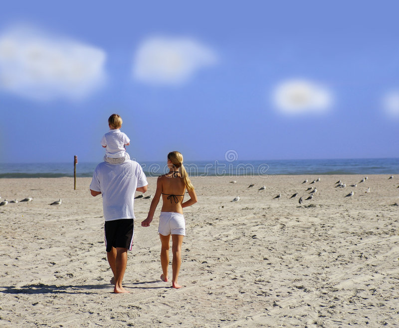 Beach family stock images