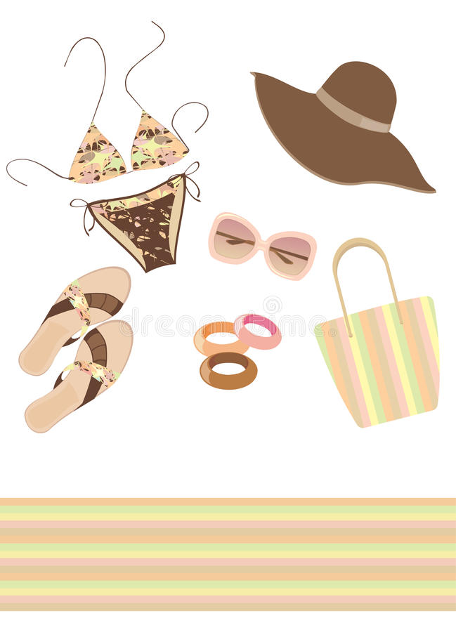 Beach fashionable clothes and accessories set royalty free illustration
