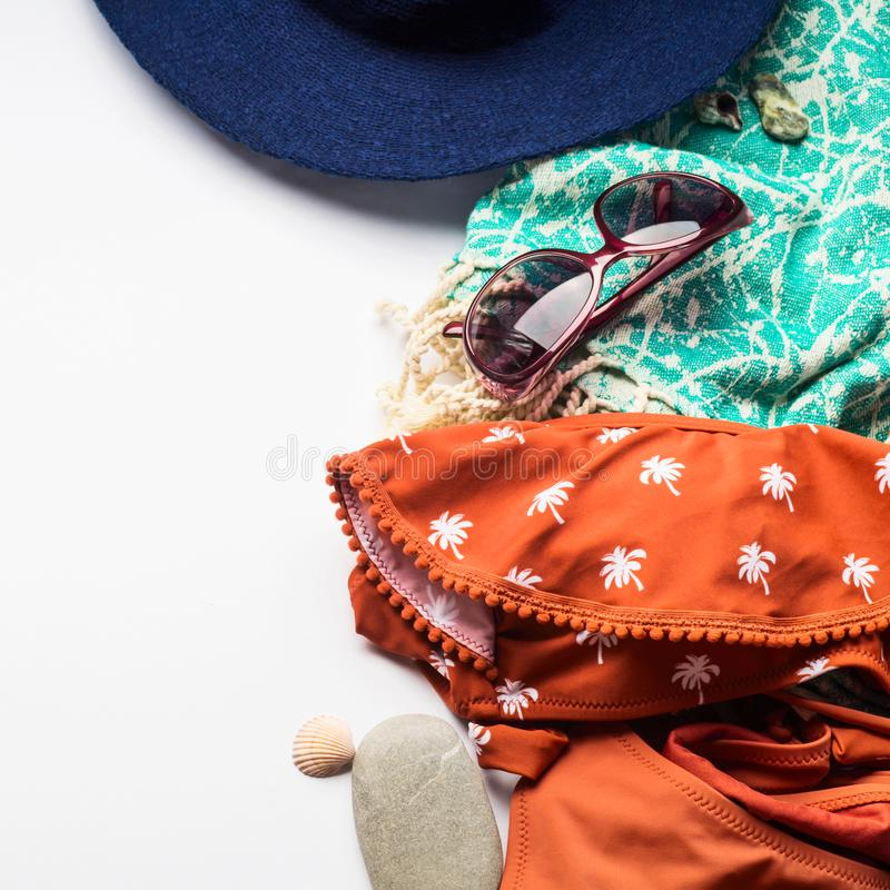 Beach female fashion accessories on white royalty free stock photography