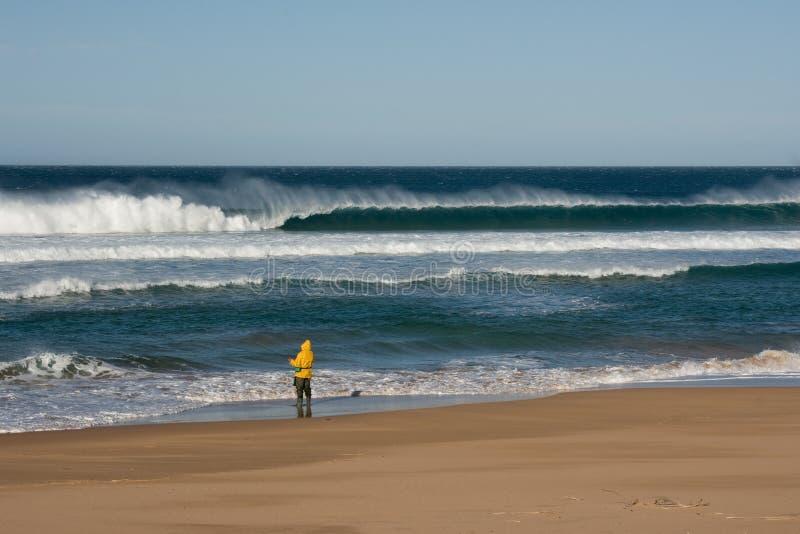 Beach fishing in big surf at Waitpinga Beach, South Australia stock photo