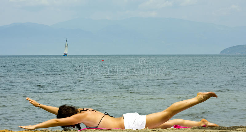 Beach fitness stock images