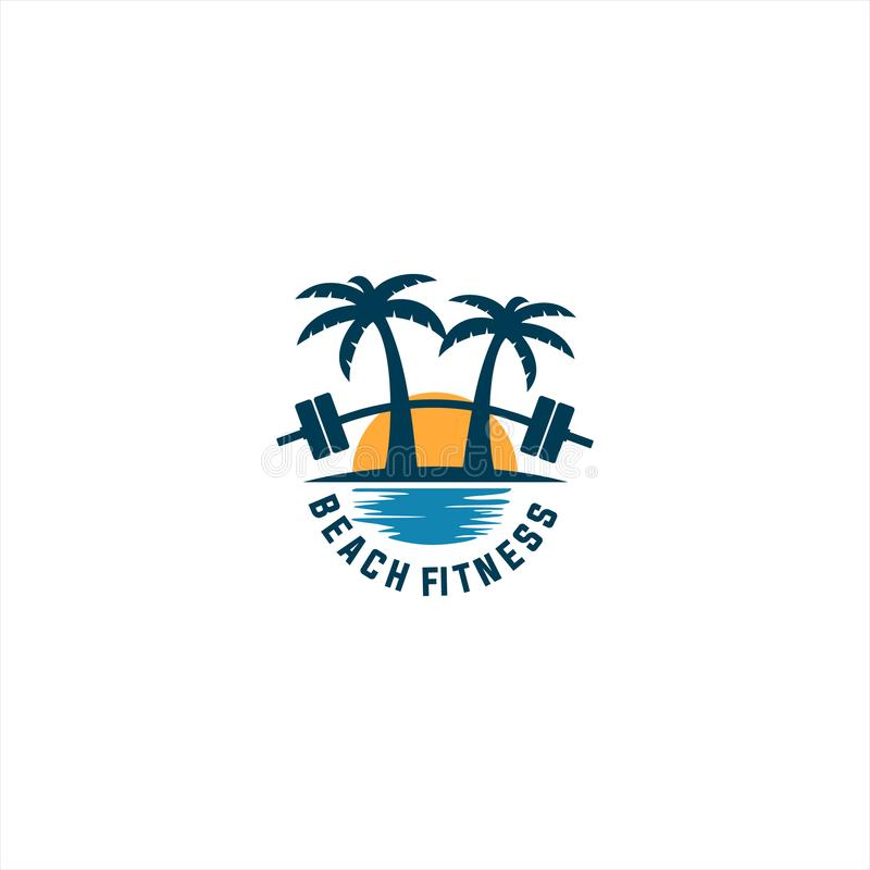 Beach fitness logo stock illustration
