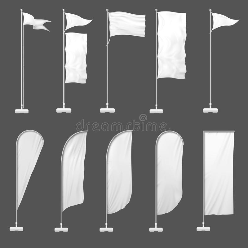 Beach flag. Outdoor banner on flagpole, stand blank flags and empty advertising beachfront banners 3d template vector stock illustration