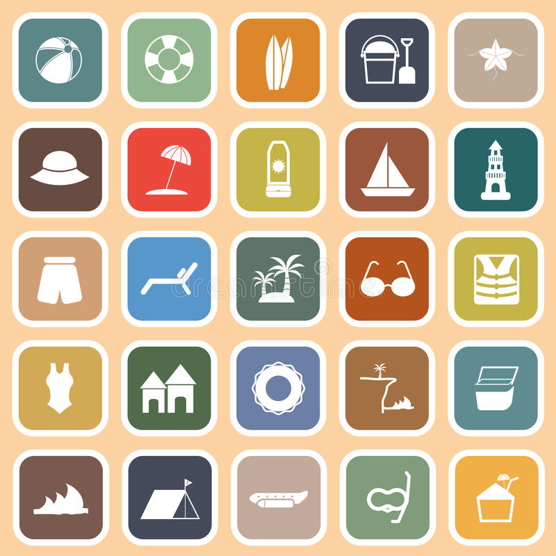 Download Beach Flat Icons On Orange Background Stock Vector - Illustration: 35169756