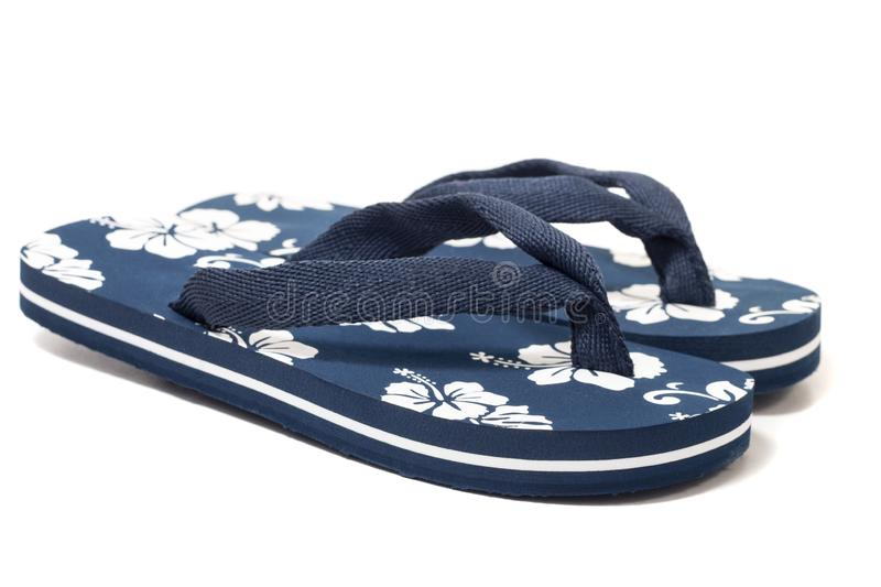 Beach flip flops. Close view beach flip flops or summer sandals isolated on a white background royalty free stock photo