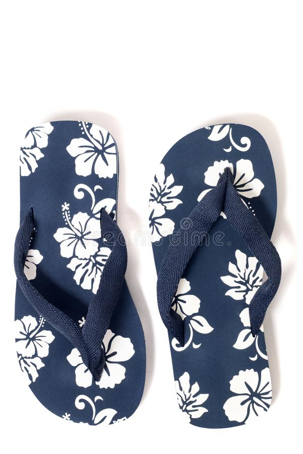 Beach flip flops. Close view beach flip flops or summer sandals isolated on a white background royalty free stock photography