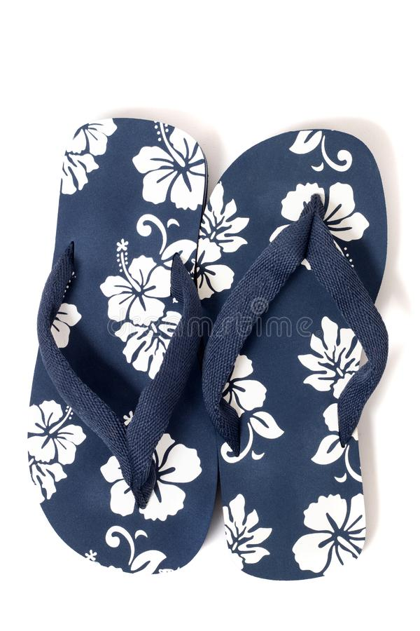 Beach flip flops. Close view beach flip flops or summer sandals isolated on a white background stock image