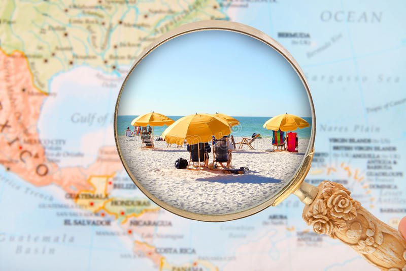 Beach in Florida USA. Looking in on a Beach in Florida, USA under sunny skies stock image