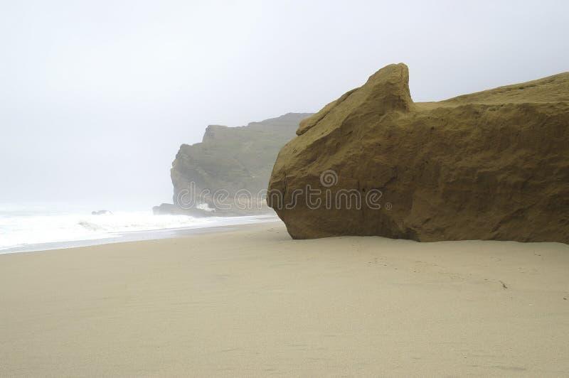 Beach in fog stock photo