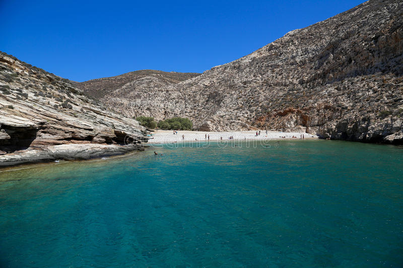 Beach of Folegandros. Blue beach and lagoon at the Folegandros island in Greece royalty free stock photography