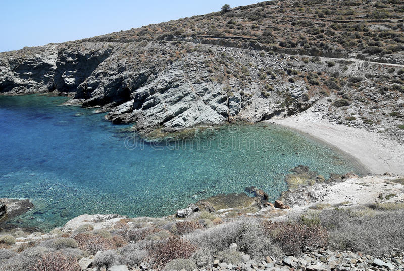 Beach in Folegandros island in Greece. Ligaria is a beautiful beach with clear turquoise water in Folegandros island, Cyclades, Greece royalty free stock photos