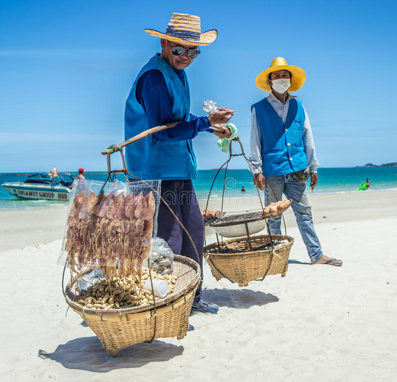 Beach food. Thai people selling food on a paradise beach royalty free stock photography