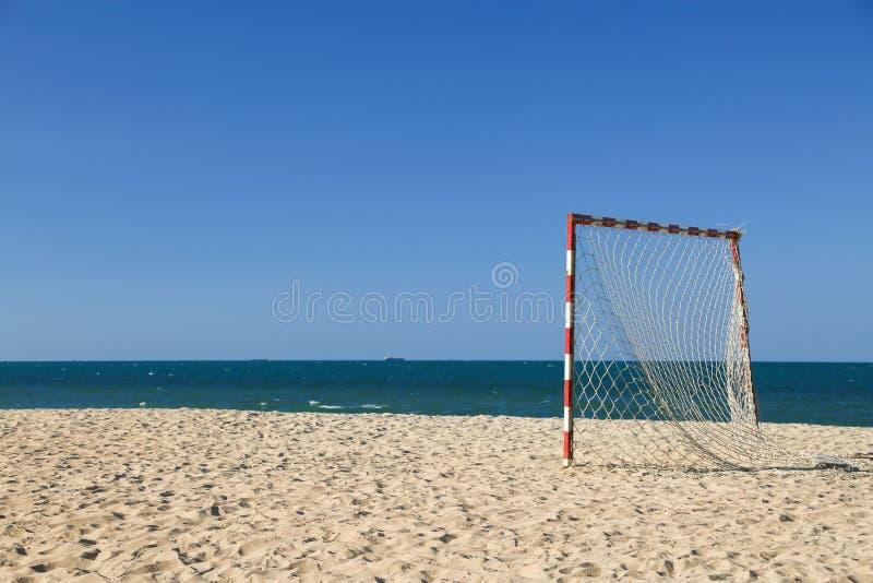 Beach football pitch on a sunny day, popular sport on the beach royalty free stock photos