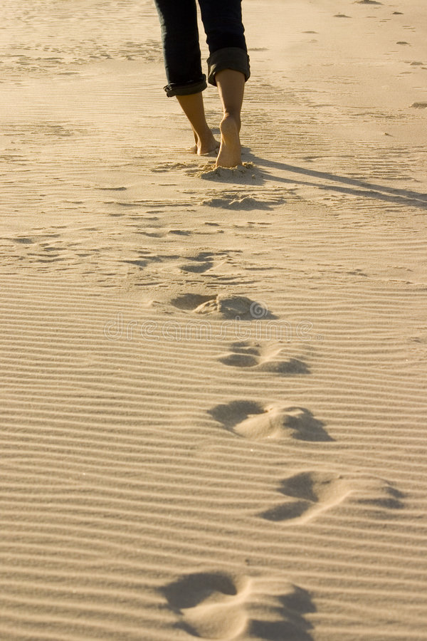 beach footprints royaltyfri foto