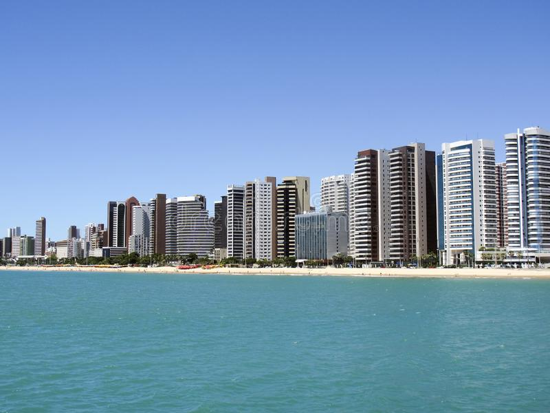 Beach in Fortaleza, Ceara, Brazil. Beach of Fortaleza, Ceara, northeastern coast of Brazil - concept of travel, rest and leisure in Brazil royalty free stock photo