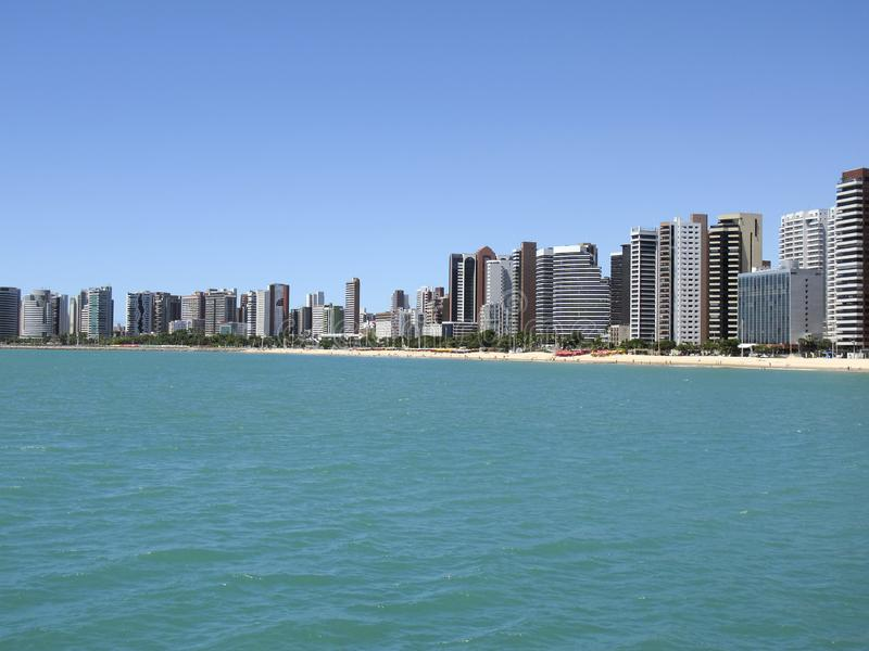 Beach in Fortaleza, Ceara, Brazil. Beach of Fortaleza, Ceara, northeastern coast of Brazil - concept of travel, rest and leisure in Brazil stock image