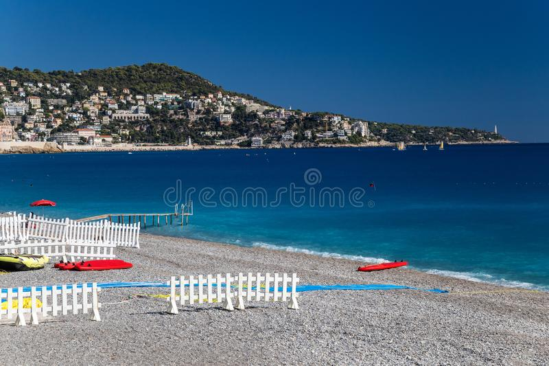 Beach on French Riviera. Beach in French Riviera. Nice, Cote d`Azur stock photo