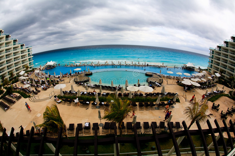 Download The Beach Front At A Luxury Beach Resort In Cancun Stock Illustration - Image: 8682684