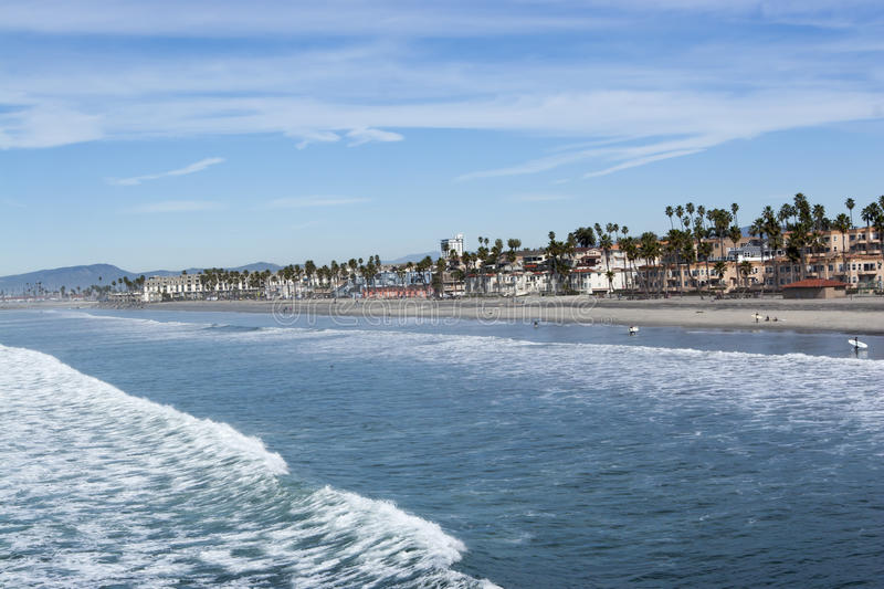 Beach Front Oceanside California. Beach homes and business along the beach at Oceanside California, Oceanside is a coastal community in Southern California stock photography