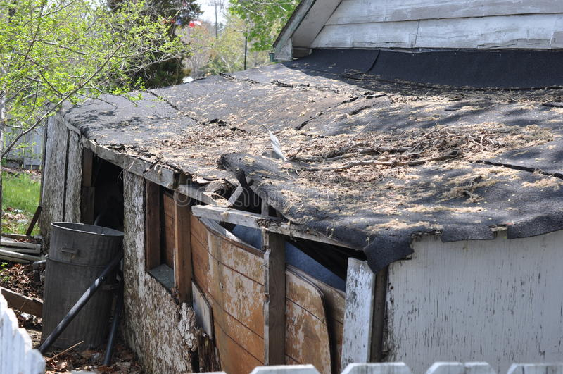 Ramshackle roof stock photos