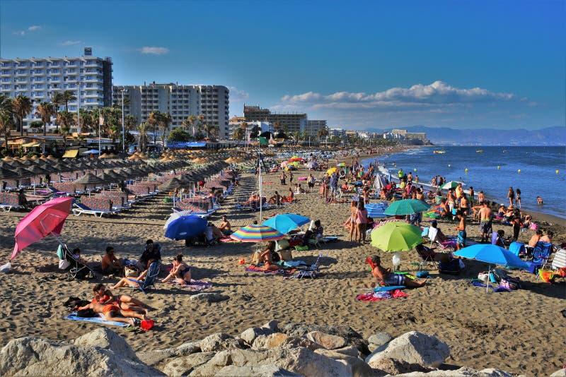 Beach Fuente de la Salud in the town of Benalmadena Malaga royalty free stock photography