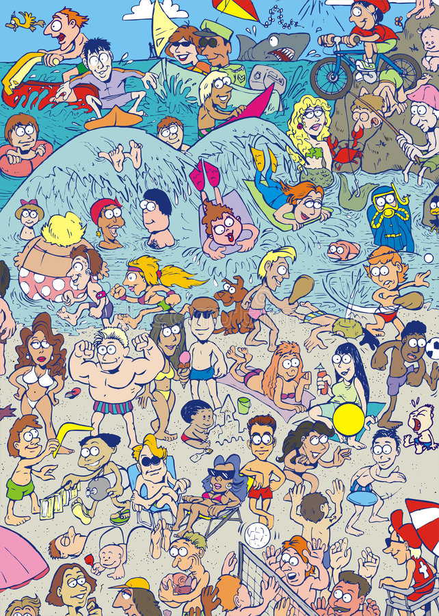 beach full funny royaltyfri illustrationer