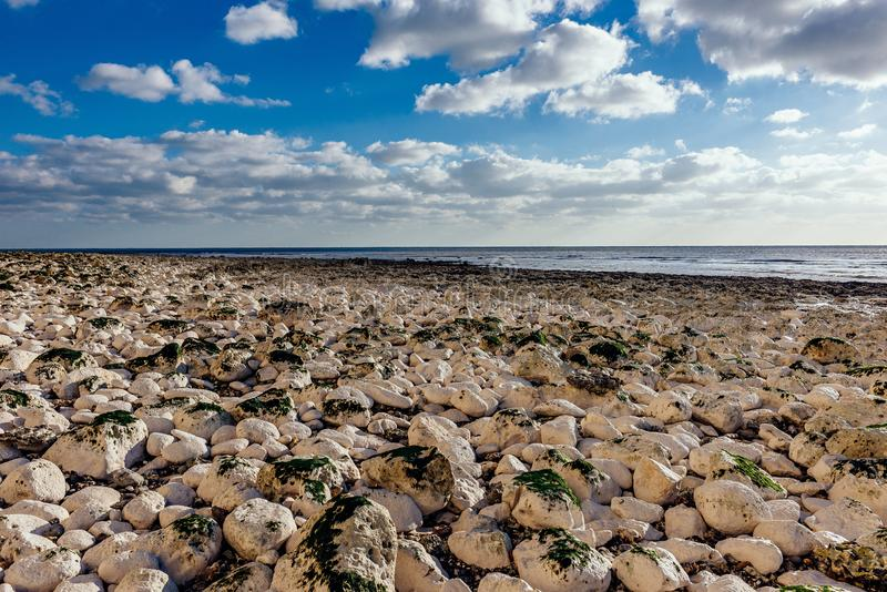 Beach full of rocks - relax, peaceful stock photography