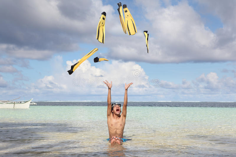 Download Beach fun with flippers stock photo. Image of vacation - 22420910