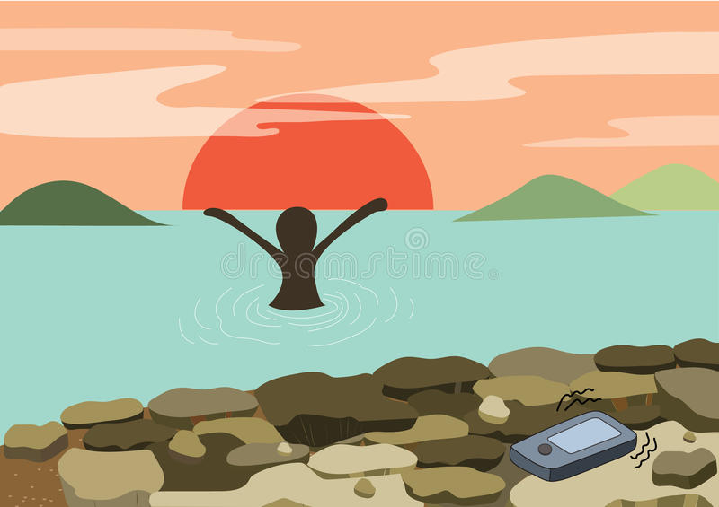 Beach fun sunset - happy woman relax in sea arms up with diamond head mountain and sun down on the background royalty free illustration