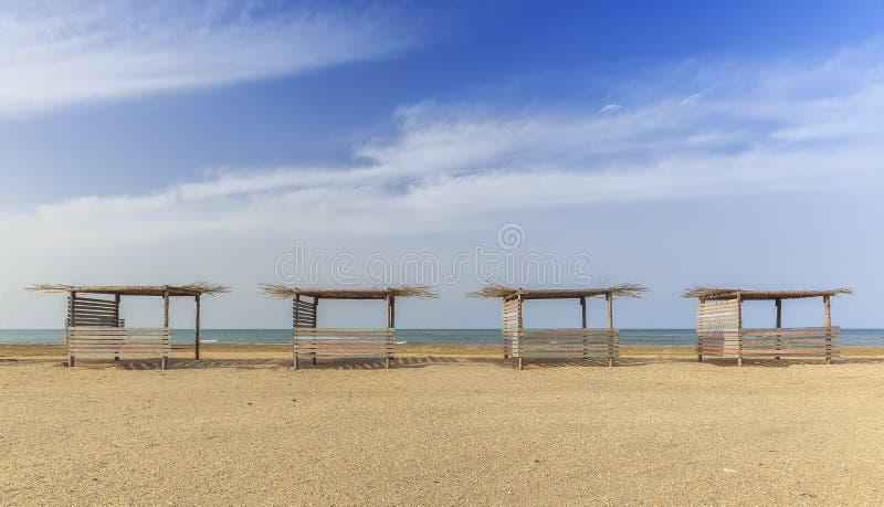 Beach gazebo on one of the beaches of the Caspian coast. Azerbaijan stock image
