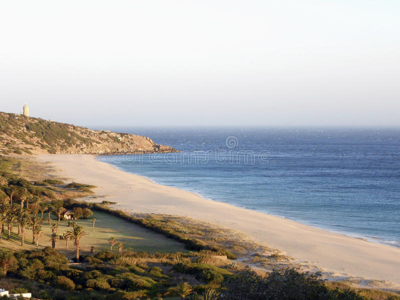 Beach of the germans atlanterra cadiz royalty free stock photo