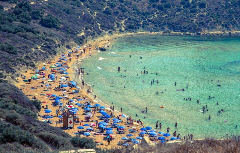 Beach Ghajn Tuffieha in Malta royalty free stock images