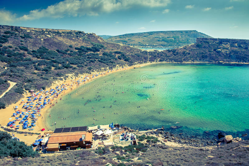 Beach Ghajn Tuffieha in Malta royalty free stock image