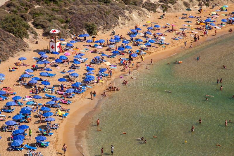 Beach Ghajn Tuffieha in Malta stock photo